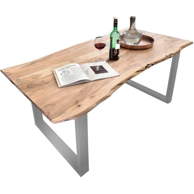 coloris naturel massif Gisel bois et d'acacia acier Table 80 manger cm contemporaine 160 en et argenté C x à ZiPuXTOk