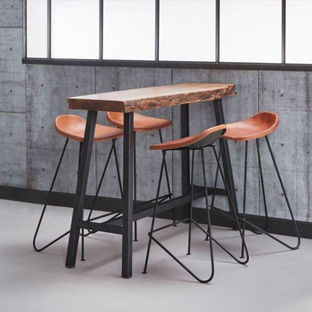 78d7f8379d23f Inside 75 - Table de bar 125 46 cm Split style industriel en acier et bois  d'acacia - pas cher Achat / Vente Bars - RueDuCommerce
