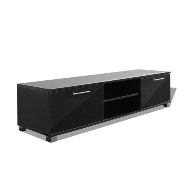 Helloshop26 Meuble télé buffet tv télévision design pratique noir brillant 120 cm 2502210