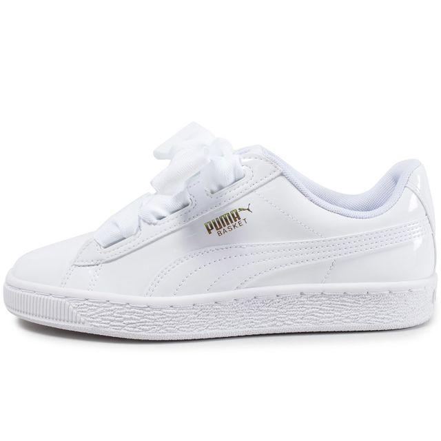 Chaussures Puma Basket Heart Patent blanche vue extérieure