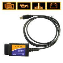 Shopinnov - Câble d'interface Usb Elm 327 pour diagnostic auto Obd2