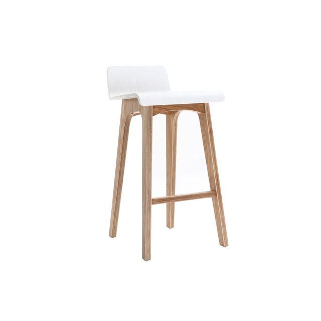 miliboo chaise de bar scandinave 65 cm bois et blanc. Black Bedroom Furniture Sets. Home Design Ideas