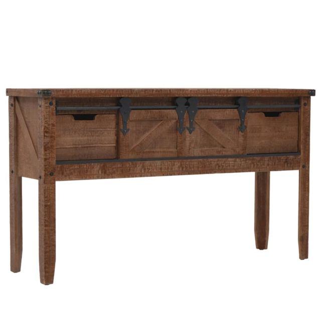 Superbe Consoles serie Bucarest Table console Bois massif de sapin 131 x 35,5 x 75 cm Marron