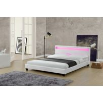 Design et Prix - Magnifique Lit Love 140x190cm - Cadre de lit Led en simili cuir Blanc