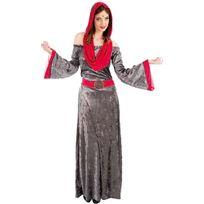 Chaks - Déguisement Médiéval Robe longue grise avec capuche - FemmeL - 40/42