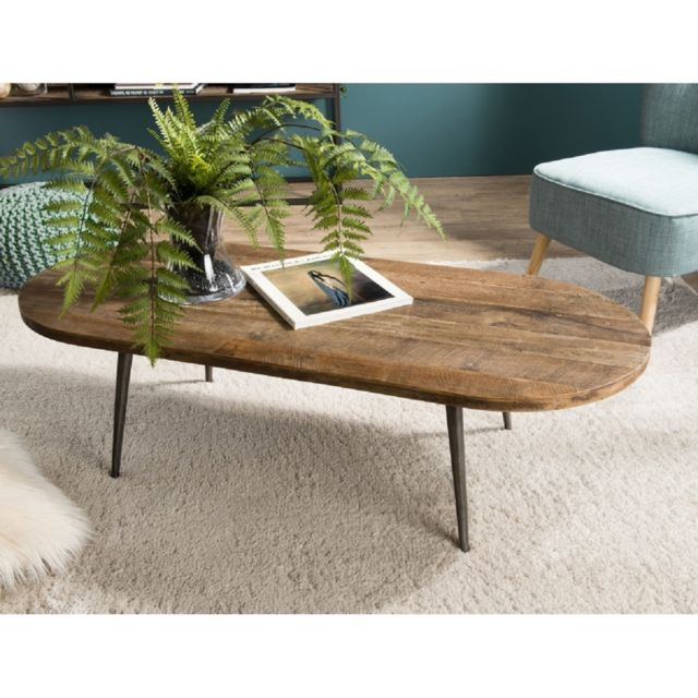 Macabane Table Basse Ovale Teck Recycle Et Metal Pas Cher