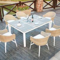 COTE LOUNGE - Acacia 6 : table de jardin en aluminium et polywood 6 personnes + 6 fauteuils en rotin tressé