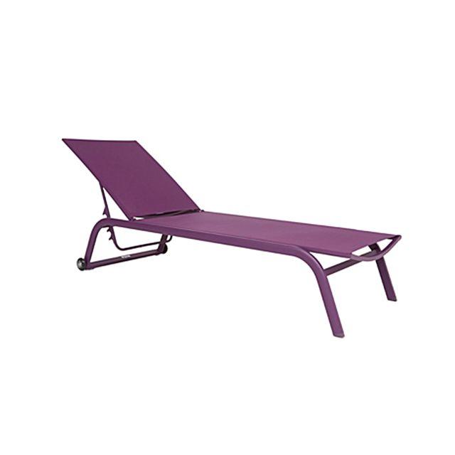 Gecko Jardin Bain de soleil alu et textilène violet Bahamas