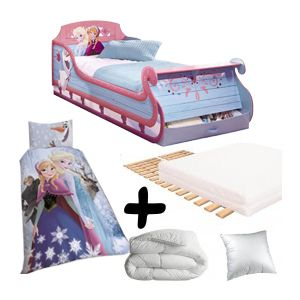 bebe gavroche pack premium grand lit traineau reine des neiges disney lit matelas parure. Black Bedroom Furniture Sets. Home Design Ideas