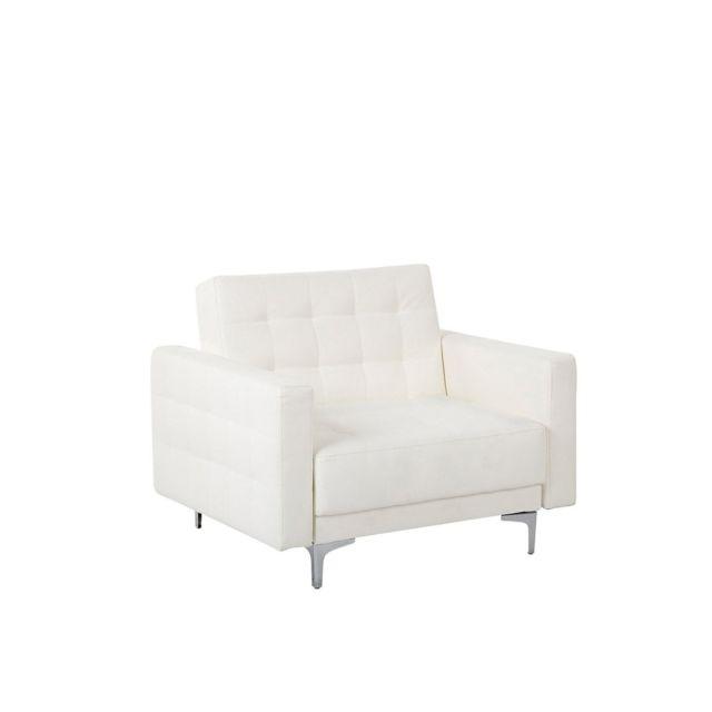 BELIANI Fauteuil en simili-cuir blanc ABERDEEN - blanc
