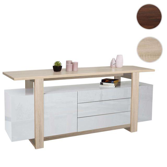 Mendler Commode Hwc-b51, bahut, armoire à tiroirs, structure 3D, couleur chêne, brillant 80x180x45cm