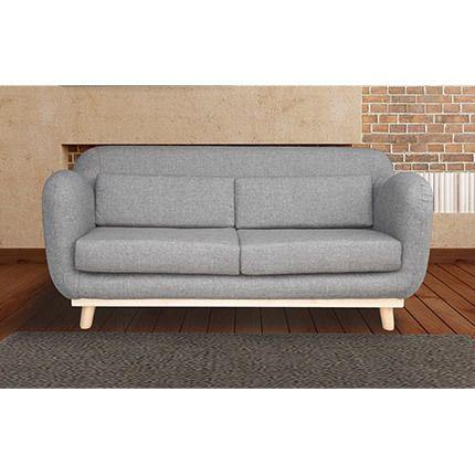 Canapé 3 places fixes pieds bois en tissu - coloris gris souris
