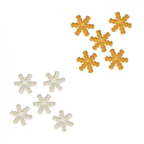 Autre 28 décorations en sucre Flocons de neige blancs et dorés