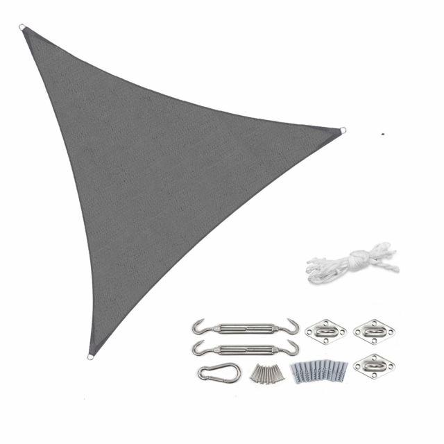 Sekey Voile d'ombrage Triangle Hdpe Perméable Une Protection des Rayons Uv, Résistant et Respirant pour Jardin Terrasse Campin