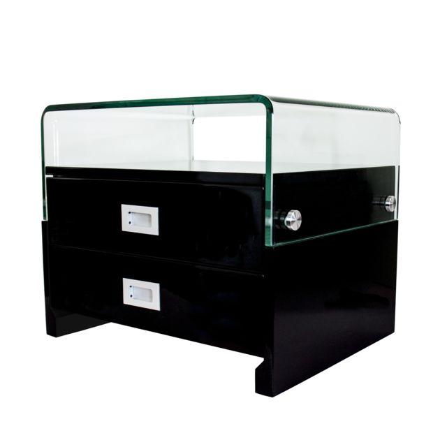 Table de chevet design laqué avec 2 tiroirs S14 NOIR