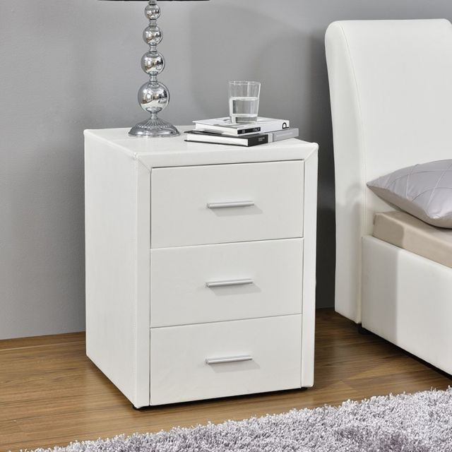 Meubler Design Table chevet 3 tiroirs Kasi - Blanc