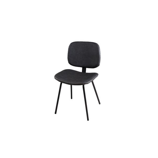 Lot de 2 chaises Jimmy en simili cuir noir Collection Paul