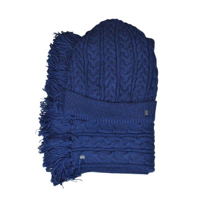 b894a07dfa10 Tommy hilfiger - Coffret bonnet et écharpe bleu marine pour femme - pas  cher Achat   Vente Casquettes, bonnets, chapeaux - RueDuCommerce