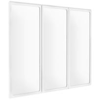 Pare-baignoire Golf, paroi de baignoire avec 3 volets pivotants, 126,8 x 120 cm, verre transparent, profilé blanc