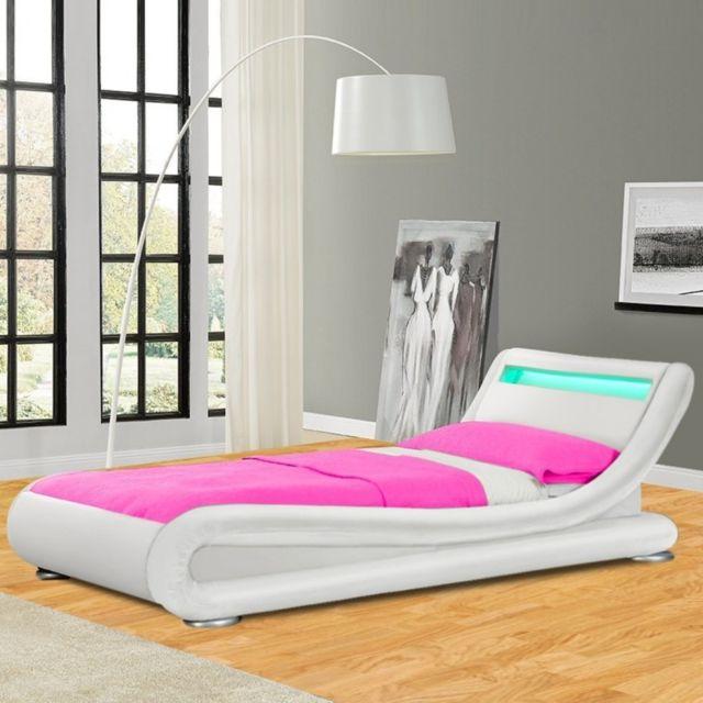 MEUBLER DESIGN Lit design LED Julia - Blanc - 90x190