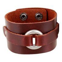 So Chic Bijoux - Bracelet Cuir Véritable Marron 20 à 22 cm Acier Inoxydable