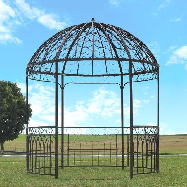 Grande Tonnelle Gloriette Kiosque de Jardin Fer ø 250 cm