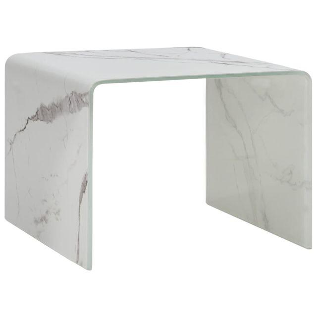 Vidaxl Table Basse Blanc Marbre 50x50x45 cm Verre Trempé Table d'Appoint Salon