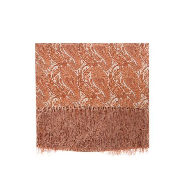04e95ff50217 Bruce Field - Bruce Field - Echarpe en pure soie motif cachemire camel -  2986