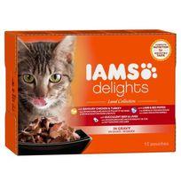 Iams - Delights multibox Saveurs de la Terre en sauce Land Collection Toutes Races - 12x85 g - Pour chat adulte