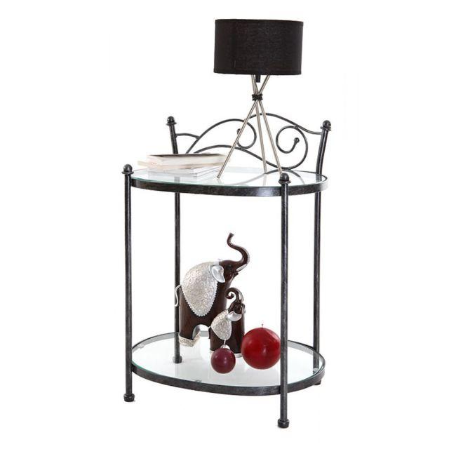 miliboo table de chevet baroque noire m tal venezia. Black Bedroom Furniture Sets. Home Design Ideas