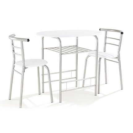 Table + 2 chaises Blanc