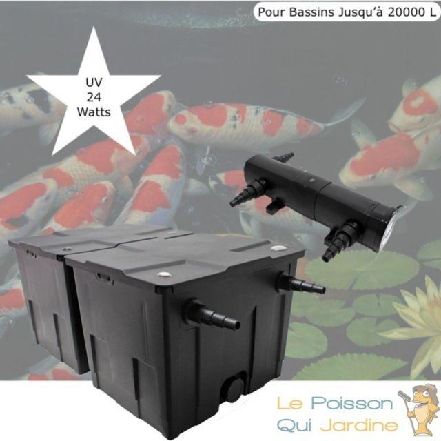 Le Poisson Qui Jardine Filtre + Uv 24W, Bassin De Jardin Jusqu'à 20000 Litres Option : Pack Bactéries & Activateur Biologique - + Pack Pour 250