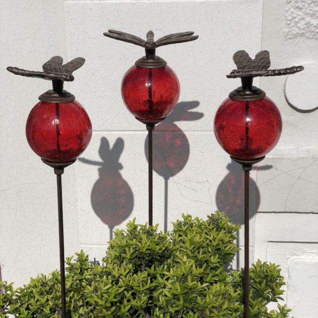 L'ORIGINALE Deco 3 Pics Tige Tuteurs Porte Plante de Jardin Rouge Libellule Marron 117 cm