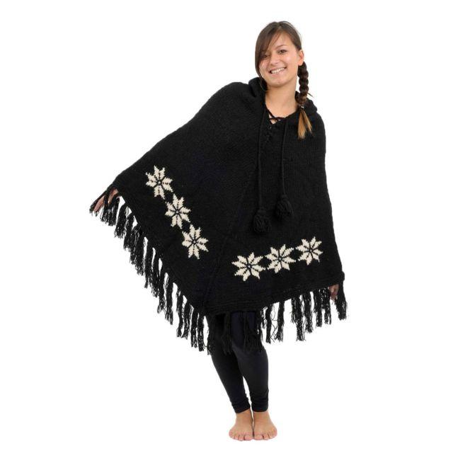 Fantazia Poncho laine douce Nepal Noir et blanc etoile des neiges