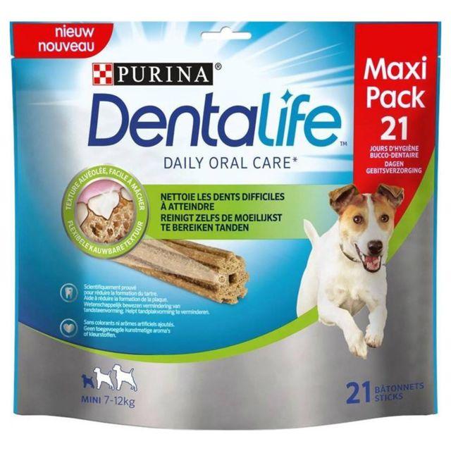 Purina Dentalife Bâtonnets Pour Chiens Mini 7 à 12kg Texture Alvéolée Facile à Mâcher Maxi Pack 345g lot de 4 sachets