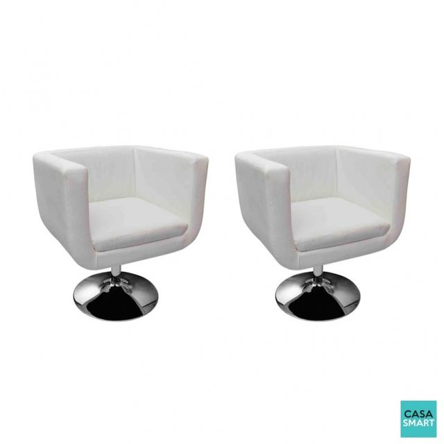 Casasmart Lot de 2 fauteuils Megan Blanc