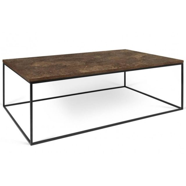 Inside 75 Tema Home Table basse rectangulaire Gleam 120 plateau design rustique structure laquée noir mat