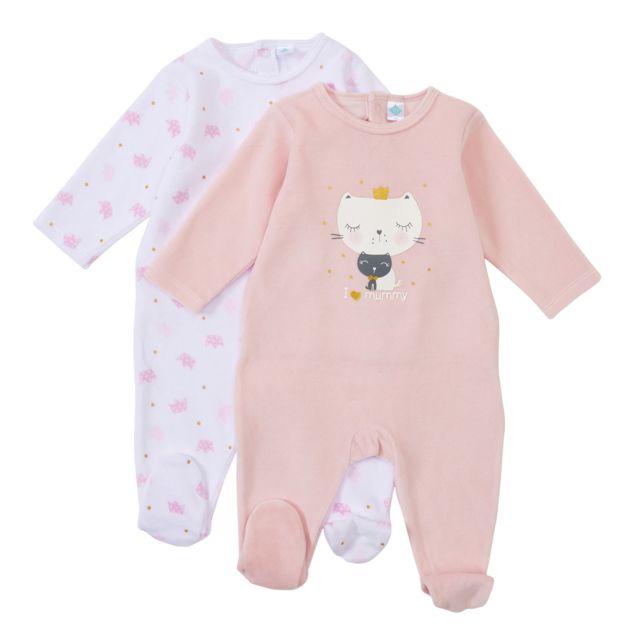 TEX BABY - Lot de 2 pyjamas bébé en velours Rose