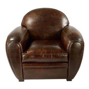 Zago fauteuil en cuir italien 1 place club havana pas cher achat ven - Fauteuil cuir italien ...