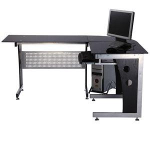 Homcom bureau d 39 informatique angle pour ordinateur meuble table de travail plateaux en verre - Meuble d angle pour ordinateur ...
