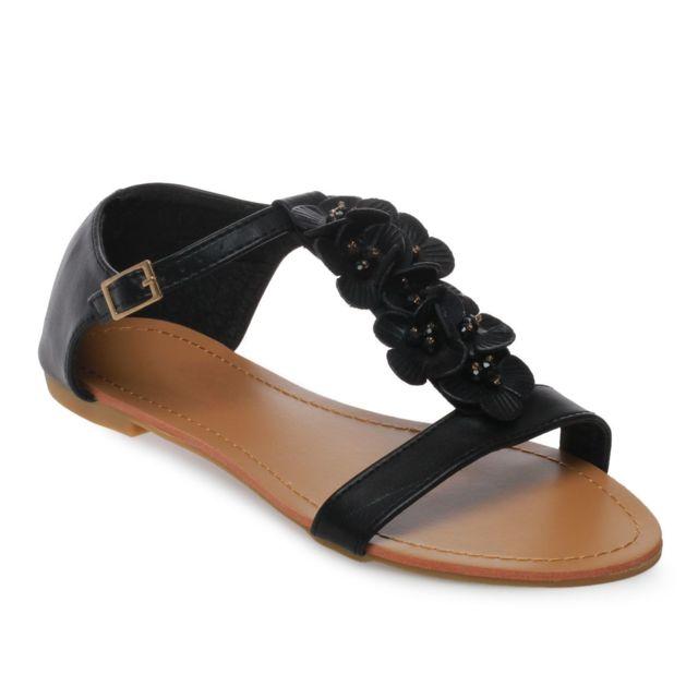 Sandales grande taille fleurs et strass noir pas cher la modeuse