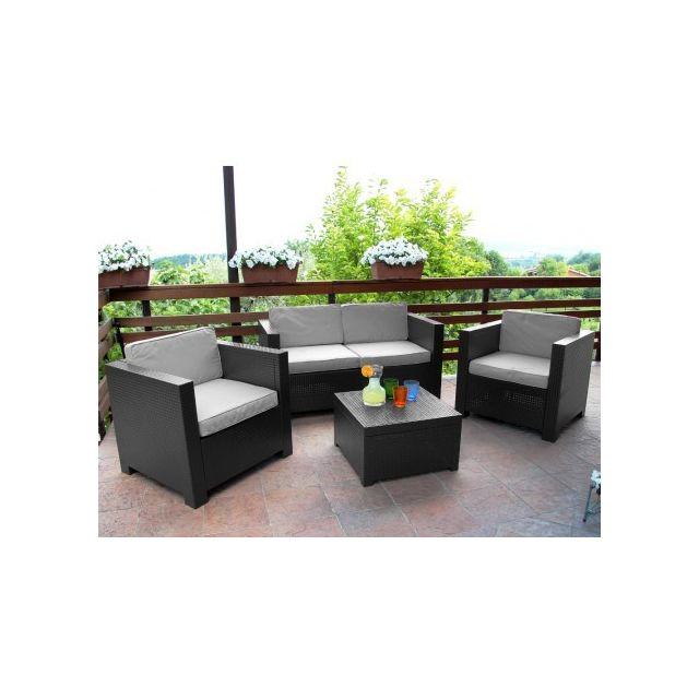 MARQUE GENERIQUE Salon de jardin SOPHIE II en résine moulée: 2 fauteuils, un canapé 2 places, une table basse - anthracite