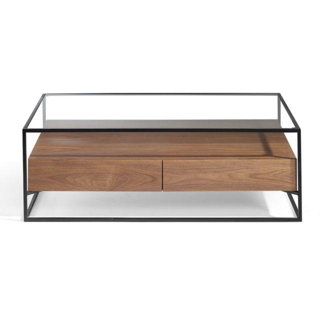 Tousmesmeubles Table basse 2 tiroirs Verre/Métal/Noyer - Liver