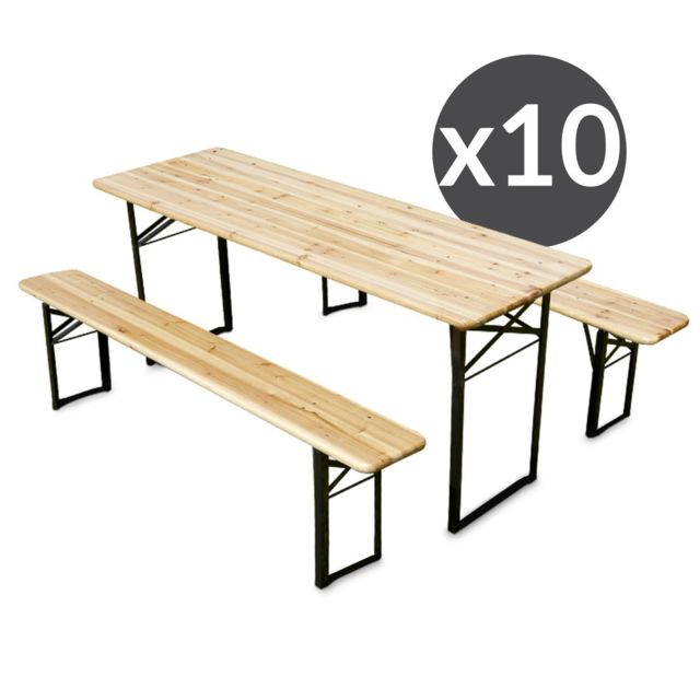 Mobeventpro Ensemble Brasserie Table et bancs bois 180 cm - Lot de 10