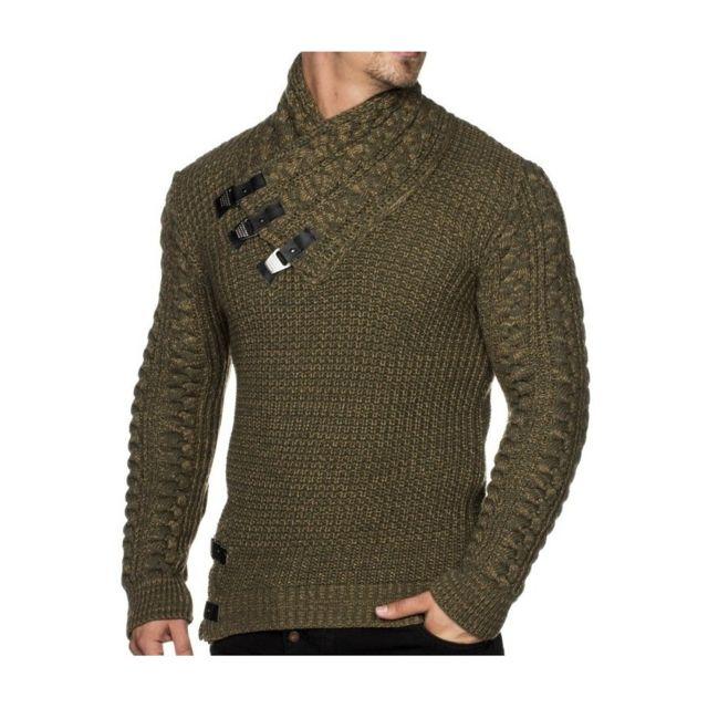 Beststyle - Pull fashion homme kaki serré classe - pas cher Achat ... 144c2855020