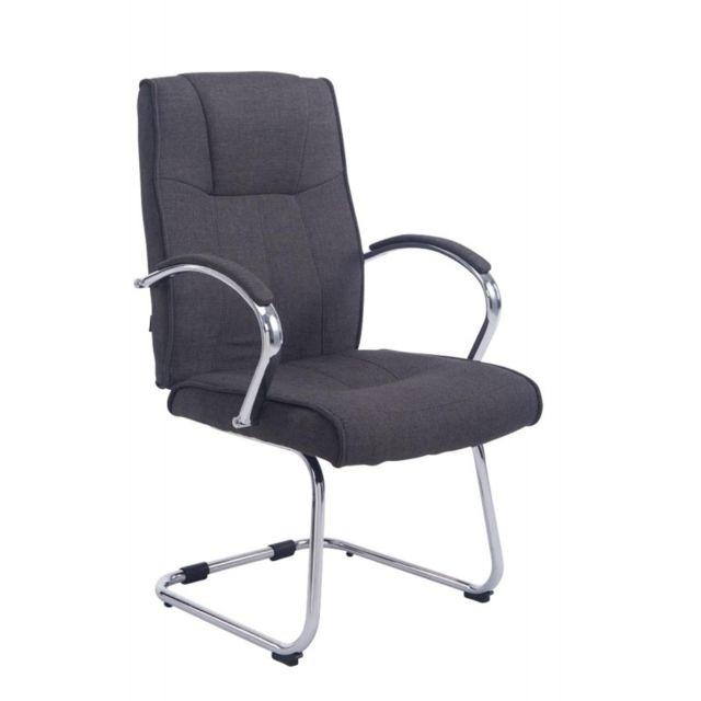 decoshop26 fauteuil de bureau sans roulette en tissu gris fonc bur10119 pas cher achat. Black Bedroom Furniture Sets. Home Design Ideas
