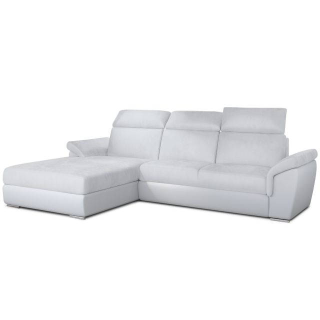 MENZZO Canapé d'angle convertible Trevisco Simili Blanc
