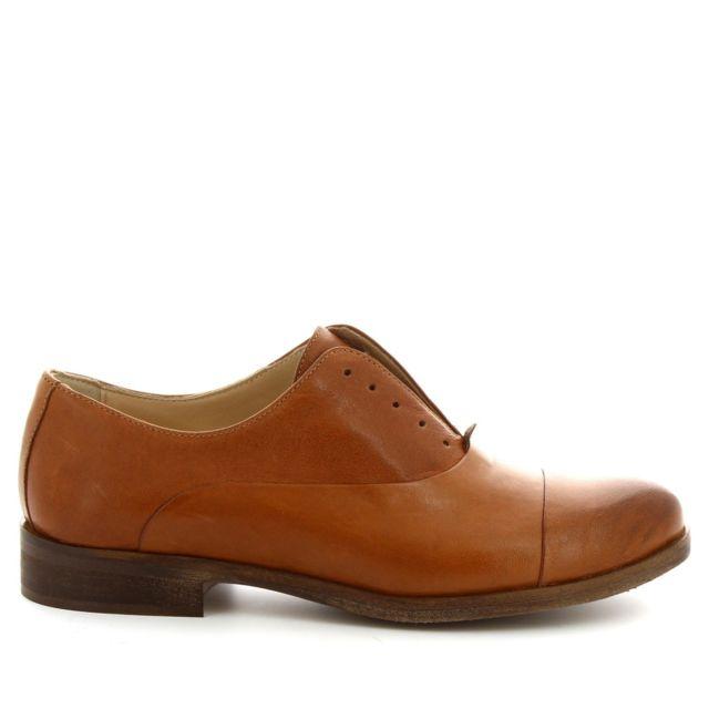 Leonardo Shoes Femme 1914BROWN Marron Cuir Chaussures À Lacets