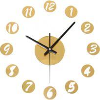 Horloge murale Nombres Ronds Argentés DorÃ