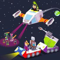 Krooom - Ensemble de jeu à assembler : Vaisseau spatial de police galactique